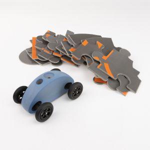 Drewniany Samochodzik FINGER CAR z układanką -  niebieski