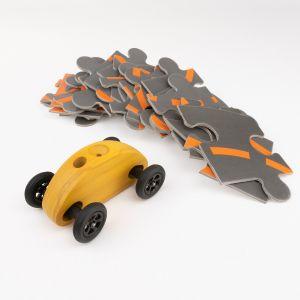 Drewniany Samochodzik FINGER CAR z układanką – żółty