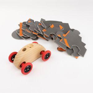 Drewniany Samochodzik FINGER CAR z układanką – w kolorze naturalnego drewna