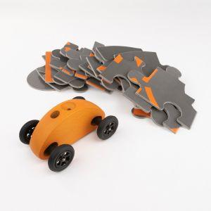 Drewniany Samochodzik FINGER CAR z układanką – pomarańczowy