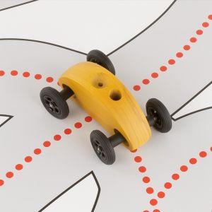 Drewniany Samochodzik FINGER CAR z torem wyścigowym – żółty