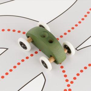 Drewniany Samochodzik FINGER CAR z torem wyścigowym – zielony