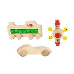 Zestaw drewnianych pojazdów: Lokomotywa, Samochodzik i Pajacyk z dzwoneczkami (dodatki do toru kulkowego)
