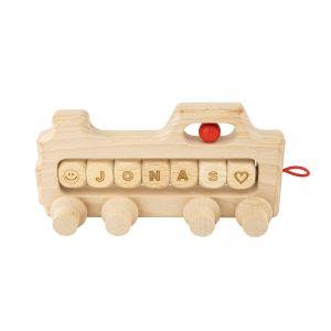 Drewniana lokomotywa z osobistym napisem (dodatek do toru kulkowego)